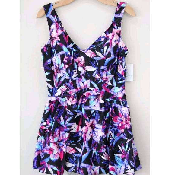 02d7897cba2 Le Cove Swim Suit Dress Plus Size Skirt Floral NEW